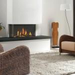 modern white fireplace design on a lounge