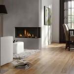 modern white fireplace design on the corner