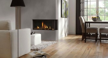 modern white fireplace design on the corner