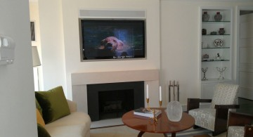 modern white fireplace design under the tv