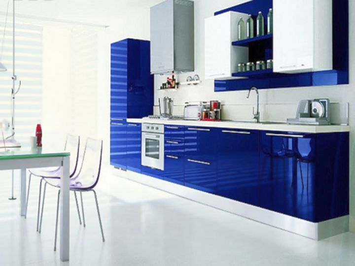 Modular Kitchen Designs In Glossy Blue And White