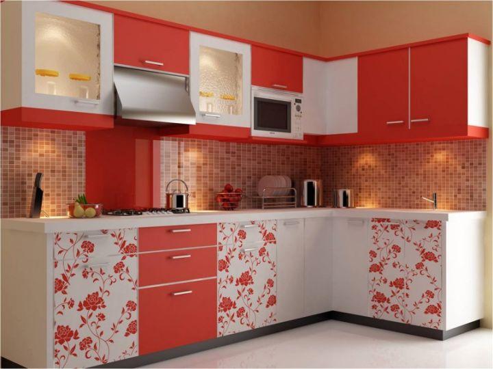 modular kitchen designs in orange with some design