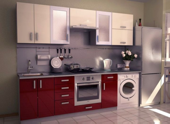 Modular Kitchen Designs In Red And Washing Machine For