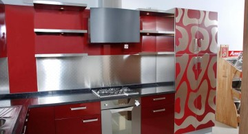 modular kitchen designs in red with pattern