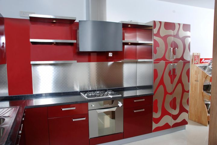 Modular Kitchen Designs In Red With Pattern