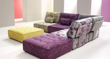 modular sofas in purple