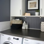 monochromatic small laundry room designs
