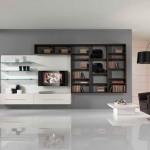 monochromatic wall shelving units for living room