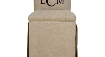 monogramed vanity chair with skirt