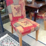 multi colored dining chairs in pink