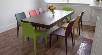 multi colored dining chairs with espresso long table