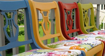 multi colored dining chairs with flower upholstery