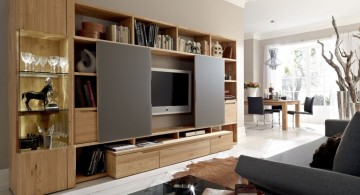 multipurpose wall shelving units for living room with slide doors
