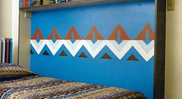 murphy bed design ideas for small rooms in blue and ethnic pattern