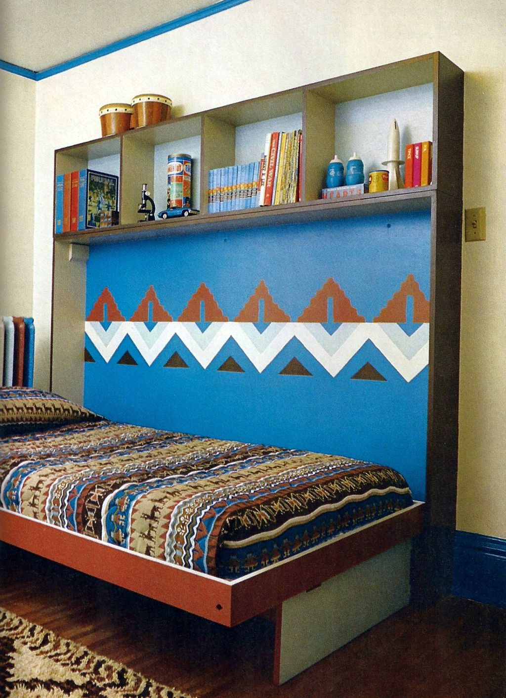 Bedroom Ideas Ethnic murphy bed design ideas for small rooms in blue and ethnic pattern