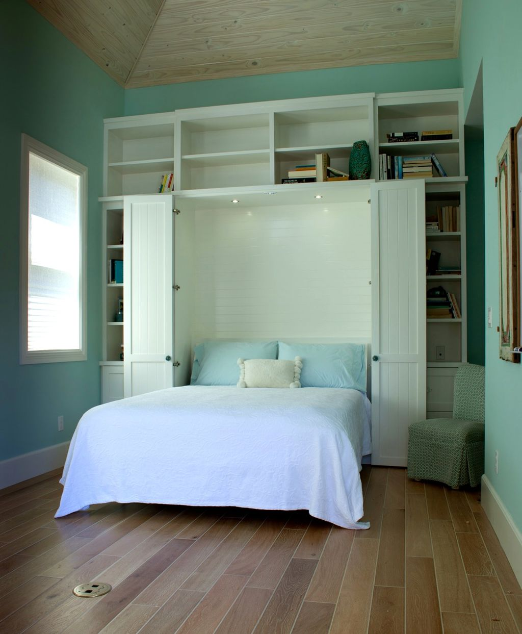 Murphy Bed Design Ideas cool bedroom design ideas with brown wooden murphy bed frame combine with Murphy Bed Design Ideas For Small Rooms In Blue
