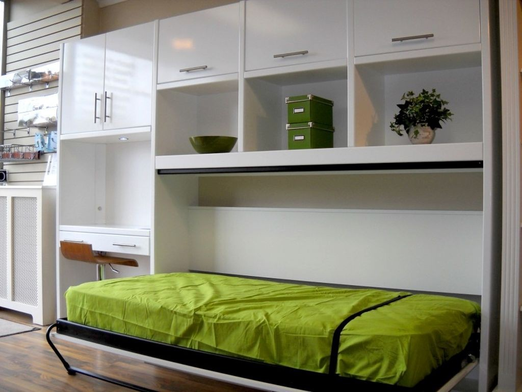 murphy bed design ideas for small rooms in green and white cabinets - Murphy Bed Design Ideas