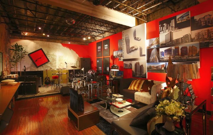 music room designs in red and black