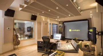 music room designs with faux ceiling and large plasma monitor