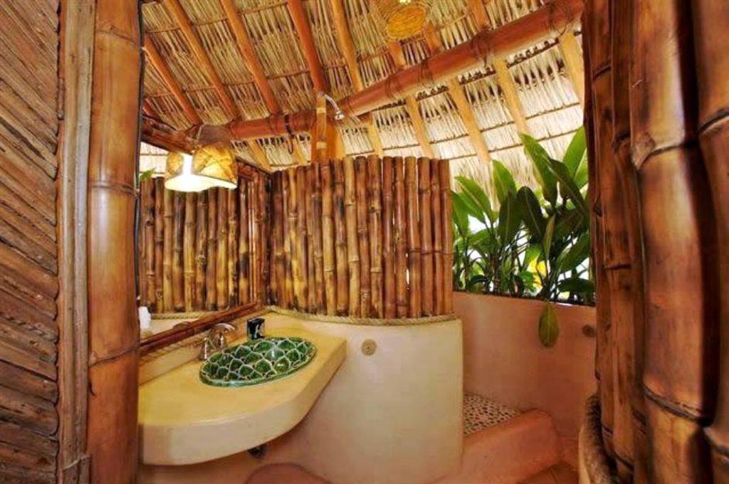 natural looking bamboo themed bathroom
