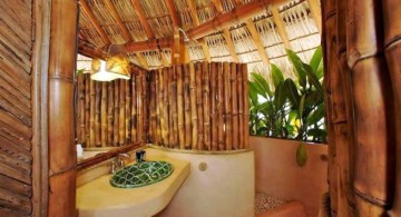 natural looking bamboo themed bathroom