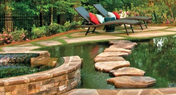 nature themed pool with spa designs with stone pathway