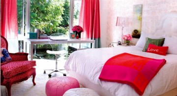 nice rooms for girls in white and red
