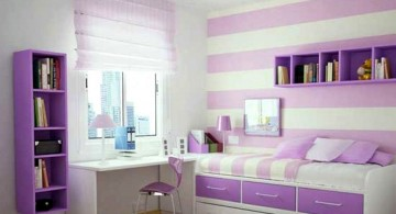 nice rooms for girls with sofa bed and purple stripes wall
