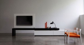 orange chairs and swivel TV shelf minimalist modern furniture