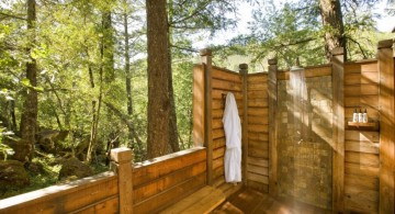 outdoor shower bamboo themed bathroom