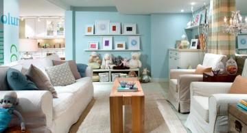 pastel-colored room designs blue basement