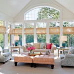 pastel-colored room designs for wide living room with skylight