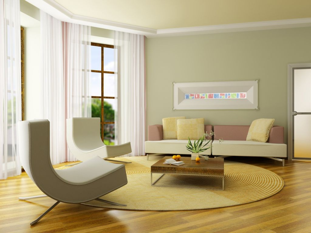 pastel-colored room designs minimalist contemporary green