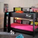 pink and black bedroom decor for bunk beds