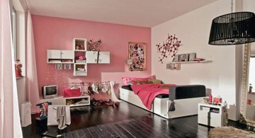 pink and black bedroom decor for girls with flower wall decals