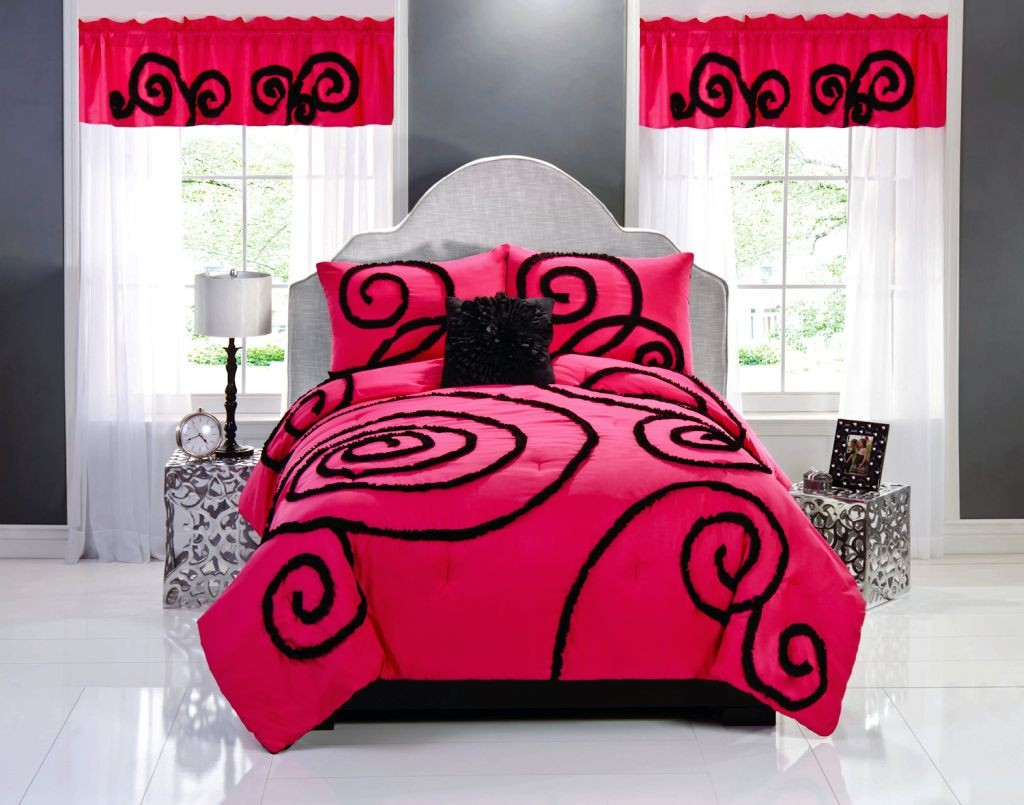 pink and black bedroom decor for mature couple