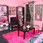 pink and black bedroom decor with zebra pattern