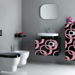 pink and black wall decor for bathroom