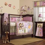 pink baby room ideas with monkey decals on the wall
