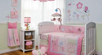 pink baby room ideas with soft baby blue wall
