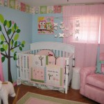 pink baby room ideas with tree and owl decal