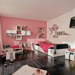 pink colored wall awesome rooms for girls with vintage lamp