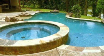 pool with spa designs large freeform pool with round jacuzzi