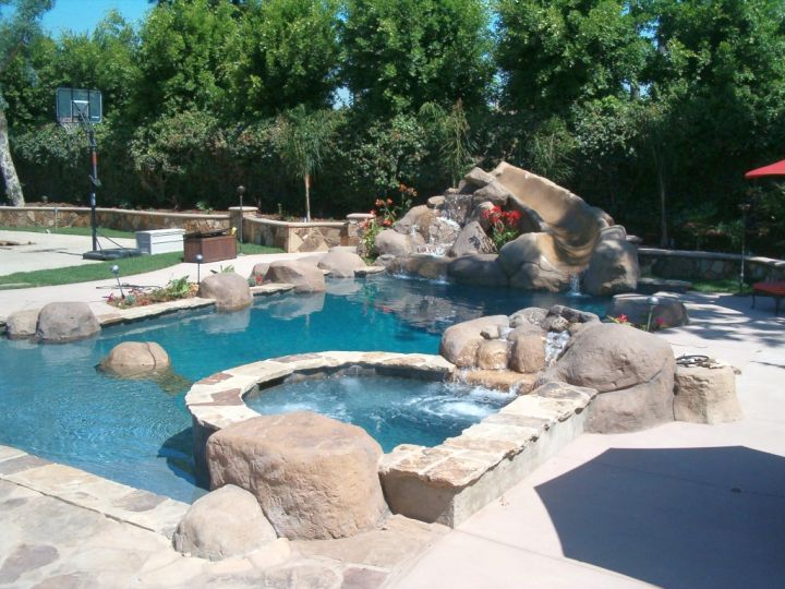 pool with spa designs next to basketball arena for sport club