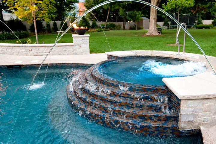 pool jet design pool with spa designs round half raised jacuzzi with art