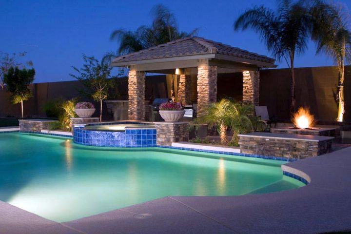 Pool with spa designs with mini bar attached for Above salon austin