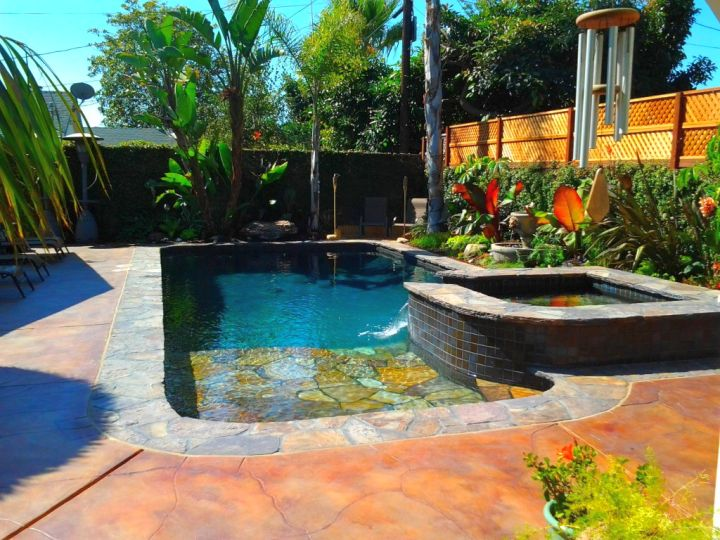 pool with spa designs with small half raised jacuzzi for narrow yard