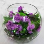 purple roses bouquet bowl centerpiece ideas