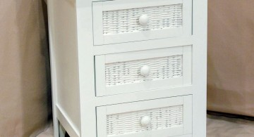 rattan textured modern nightstands white