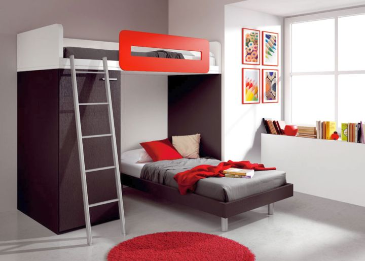 Red And Black Bedroom With Bunk Beds